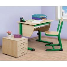 Набор мебели для школьника: компактная парта, стул и тумба с 3 ящиками
